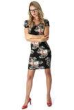 Cortocircuito joven Mini Dress de la mujer de negocios Imagen de archivo libre de regalías