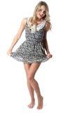 Cortocircuito Mini Dress de la mujer joven Fotos de archivo libres de regalías