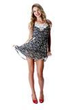 Cortocircuito Mini Dress de la mujer joven Imágenes de archivo libres de regalías