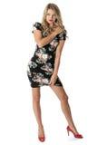 Cortocircuito Mini Dress de la mujer joven Foto de archivo