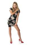 Cortocircuito Mini Dress de la mujer joven Fotografía de archivo
