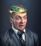 Cortocircuito in testa dell'uomo d'affari Immagine Stock Libera da Diritti