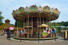 The Double Decker Carousel at Pleasurewood Hills Suffolk . CORTON, SUFFOLK, ENGLAND - AUGUST 23, 2017: The Double Decker Carousel at Pleasurewood Hills Suffolk Royalty Free Stock Photography