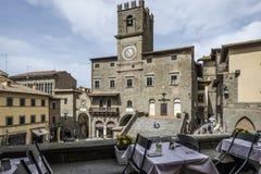 Cortona, Arezzo, Toscana, Italia, Europa, il municipio Immagine Stock Libera da Diritti