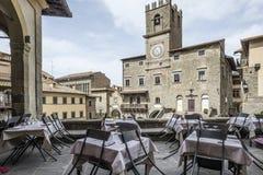 Cortona, Arezzo, Toscana, Italia, Europa, il municipio Fotografie Stock Libere da Diritti