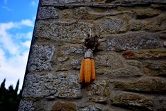 Cortona. Tuscany Italy square  sky windows cloud tower colors country road street courts green door panorama cob Stock Images
