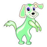 Dog cartoon character vector green. Magic funny colors cartoonish dog Royalty Free Stock Photo