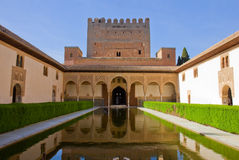 Cortyard of Alhambra, Granada, Spain. Patio de los Arrayanes (Court of the Myrtles) in La Alhambra, Granada, Spain Stock Images