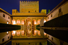 Cortyard of Alhambra at night, Granada, Spain Stock Image