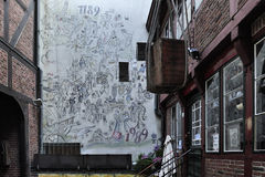 The cortyard on Krayenkamp street, Hamburg, Germany Royalty Free Stock Photography
