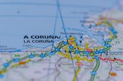 Coruña на карте Стоковое Фото