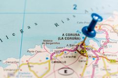A Coruña on map royalty free stock photography