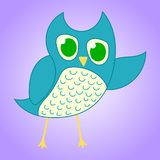 Coruja azul bonito isolada no fundo violeta para seu projeto, jogo, cartão Elemento da educação Ilustração do vetor ilustração royalty free
