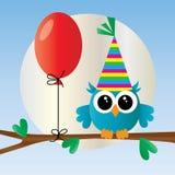 Coruja azul pequena bonito do feliz aniversario ilustração stock