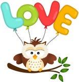 Coruja bonito com balão do amor Fotos de Stock