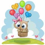 Coruja bonito com balões ilustração stock
