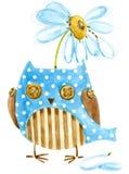 Coruja bonito Coruja do pássaro da aquarela Cartão de aniversário Pássaro dos desenhos animados Fotos de Stock