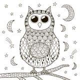 Coruja bonito do zentangle na noite para o livro para colorir ilustração do vetor