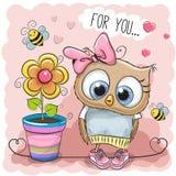 Coruja bonito dos desenhos animados com flor Fotografia de Stock