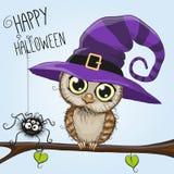 Coruja bonito dos desenhos animados em um chapéu da bruxa ilustração do vetor