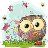 Coruja bonito dos desenhos animados em um prado Imagem de Stock