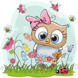 Coruja bonito dos desenhos animados em um prado ilustração stock