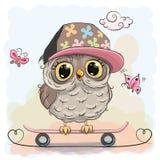 Coruja bonito em um skate Imagens de Stock Royalty Free