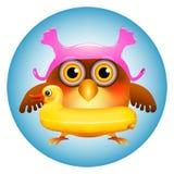 Coruja com anel da nadada do pato Fotografia de Stock Royalty Free