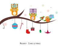 Coruja com caixa de presente Cartão do Feliz Natal e do ano novo feliz Imagens de Stock Royalty Free