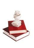 Coruja com livros Fotografia de Stock Royalty Free