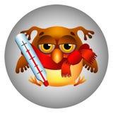 Coruja com um termômetro Fotografia de Stock Royalty Free