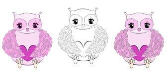 Coruja cor-de-rosa bonito com coração ilustração stock