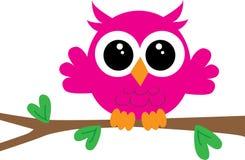 Coruja cor-de-rosa pequena bonito do feliz aniversario ilustração do vetor
