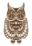 Coruja de Brown com ornamento decorativo Fotografia de Stock Royalty Free