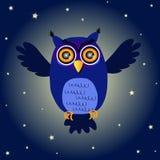 Coruja de noite dos desenhos animados Foto de Stock Royalty Free