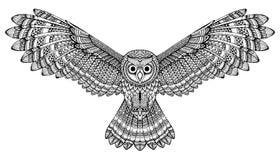 Coruja de voo tirada mão do vetor Arte preto e branco do zentangle ilustração stock