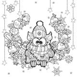 Coruja do Natal com garatuja do zentangle da caixa de presente Ilustração Stock