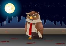 Coruja do negócio de Brown no fundo da noite Fotografia de Stock Royalty Free