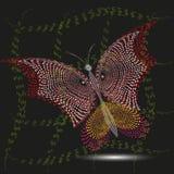 Coruja do vermelho da borboleta da ilustração Imagens de Stock Royalty Free