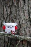 Coruja do White Christmas com capas protetoras para as orelhas vermelhas Foto de Stock Royalty Free