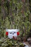 Coruja do White Christmas com capas protetoras para as orelhas vermelhas Imagens de Stock