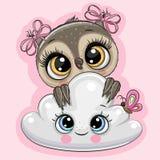 Coruja dos desenhos animados com nuvem em um fundo cor-de-rosa ilustração royalty free