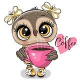 Coruja dos desenhos animados com xícara de café cor-de-rosa ilustração royalty free