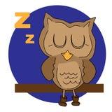 Coruja dos desenhos animados do sono ilustração royalty free