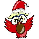 Coruja dos desenhos animados em chapéu de Santa hand-drawn Fotos de Stock Royalty Free