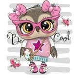 Coruja dos desenhos animados em vidros cor-de-rosa ilustração royalty free