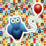 Coruja e balão Imagem de Stock