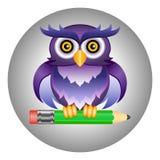 Coruja e lápis Imagens de Stock