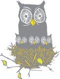Coruja e Owl Chicks Imagem de Stock