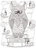 Coruja em livros Ilustração Stock